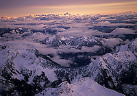 Aerial panorama of the North Cascades Mountain Range in winter, Washington State