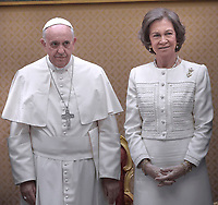 Spain's Queen Sofia.<br /> The privilege of the white is a special privilege granted to Catholic queens, or the wives of the Catholic kings, which, during the audience with the Pope, can wear a white dress instead of the usual black dress prescribed by ceremonial.<br /> <br /> White is currently the privilege granted only to the queen Letizia of Spain, Queen Mathilde of Belgium, Princess Charlene of Monaco, former Queen Sofia of Spain, former Queen Paola of Belgium and the Grand Duchess Maria Teresa of Luxembourg.<br /> <br /> Until 1946 the privilege was also granted to the Italian queen and princesses of the House of Savoy. Although Catholics, the privilege is not granted to the Principality of Liechtenstein and the Kingdom of Lesotho, and, until 2013, was not granted to the Principality of Monaco. The wives of the presidents do not enjoy the privilege of white.<br /> Pope Francis   during a meeting Spain's King Juan Carlos  and Queen Sofia  at the end of their private audience at the Vatican. on April 28, 2014