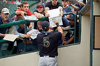 Scranton/Wilkes-Barre RailRiders Logan Morrison (5) signs autographs before an International League game against the Rochester Red Wings on June 24, 2019 at Frontier Field in Rochester, New York.  Rochester defeated Scranton 8-6.  (Mike Janes/Four Seam Images)