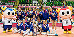Team Serbia pose for photo with metals and trophy with mascots during the prize presentation of FIVB Volleyball World Grand Prix - Hong Kong 2017 on 23 July 2017, in Hong Kong, China. Photo by Yu Chun Christopher Wong / Power Sport Images