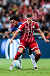Chelsea Midfielder Willian da Silva (L) fights for the ball with Bayern Munich Defender Marco Friedl (R) during the International Champions Cup match between Chelsea FC and FC Bayern Munich at National Stadium on July 25, 2017 in Singapore. Photo by Marcio Rodrigo Machado / Power Sport Images