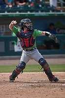 Gwinnett Stripers catcher Ryan Casteel (9) on defense against the Charlotte Knights at Truist Field on May 9, 2021 in Charlotte, North Carolina. (Brian Westerholt/Four Seam Images)