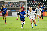TACOMA, WA - JULY 31: Jessica Fishlock #10 of the OL Reign dribbles the ball during a game between Racing Louisville FC and OL Reign at Cheney Stadium on July 31, 2021 in Tacoma, Washington.