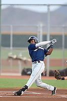 Monte Harrison #8 of the AZL Brewers bats against the AZL Reds at the Cincinnati Reds Baseball Complex on July 5, 2014 in Goodyear, Arizona. (Larry Goren/Four Seam Images)