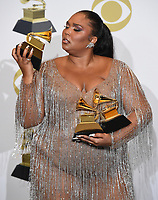 LOS ANGELES - JANUARY 26: Lizzo holds her Grammy Awards at the 62nd Annual Grammy Awards at Staples Center on January 26, 2020 in Los Angeles, California. (Photo by Frank Micelotta/PictureGroup)