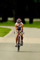 A tri-athlete training