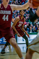 8 December 2018: Harvard University Crimson Forward Robert Baker, a Junior from Woodstock, GA, in action against the University of Vermont Catamounts in Men's Basketball at Patrick Gymnasium in Burlington, Vermont. The America East Catamounts overcame a 10-point 2nd half deficit, to defeat the Ivy League Crimson 71-65 in NCAA Division I inter-league play. Mandatory Credit: Ed Wolfstein Photo *** RAW (NEF) Image File Available ***