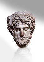 Roman statue head of a man. Marble. Perge. 2nd century AD. Inv no 2005/82. Antalya Archaeology Museum; Turkey. Against a white background.