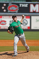 Down East Wood Ducks pitcher Jeffrey Springs (19) on the mound during a game against the Carolina Mudcats  on April 27, 2017 at Five County Stadium in Zebulon, North Carolina. Carolina defeated Down East 9-7. (Robert Gurganus/Four Seam Images)
