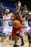 Seattle Redhawks guard Prince Obasi (0) in action during the game between the Seattle Redhawks and the Texas Arlington Mavericks at the College Park Center arena in Arlington, Texas. Seattle defeats Arlington 61 to 44....