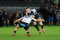 George North of Ospreys is tackled by Tommaso Boni of Zebre during the Guinness Pro14 Round 10 match between the Ospreys and Zebre at the Liberty Stadium in Swansea, Wales, UK.  Friday 30 November 2018