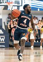 WASHINGTON, DC - NOVEMBER 16: Kyson Rawls #4 of Morgan State moves up court during a game between Morgan State University and George Washington University at The Smith Center on November 16, 2019 in Washington, DC.