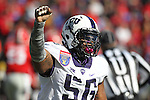 December 30, 2016: TCU defensive tackle Chris Bradley (56) celebrating after making a third down stop in the AutoZone Liberty Bowl at Liberty Bowl Memorial Stadium in Memphis, Tennessee. ©Justin Manning/Eclipse Sportswire/Cal Sport Media