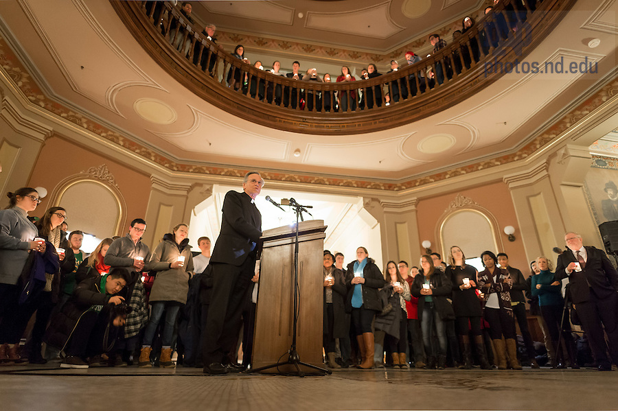 """January 16, 2017; Notre Dame President Rev. John I. Jenkins, C.S.C. speaks at a candlelight prayer service in the Main Building in observation of Martin Luther King Jr. Day. The event also marked the beginning of """"Walk the Walk"""" week, a series of events an observances to celebrate and reflect on diversity and inclusiveness. (Photo by Matt Cashore/University of Notre Dame)"""