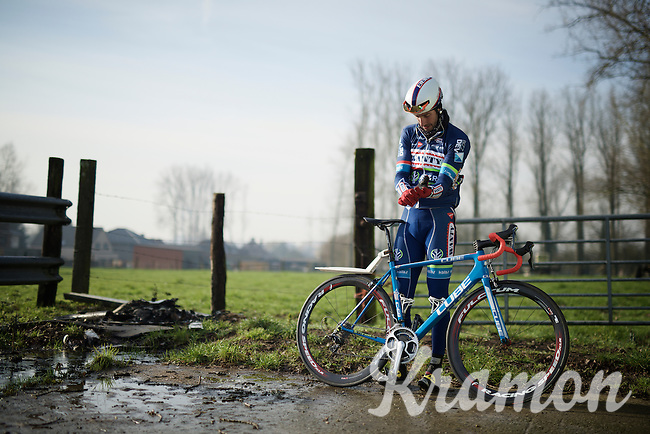 Kenny De Haes (BEL/Wanty-Groupe Gobert) gearing up & getting ready to start the recon<br /> <br /> reconnaissance of the 2016 Het Nieuwsblad parcours with Wanty-Groupe Gobert