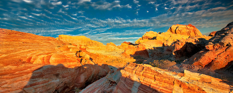 Colorful rocks and clouds at sunrise. Valley of Fire State Park, Nevada