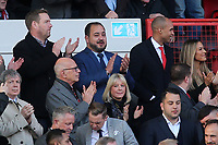 New Charlton Athletic Owner, His Excellency Tahnoon Nimer (Top row, middle) applauds the two teams onto the pitch during Charlton Athletic vs Barnsley, Sky Bet EFL Championship Football at The Valley on 1st February 2020