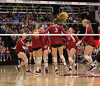 STANFORD, CA - NOVEMBER 17: Stanford, CA - November 17, 2019: Meghan McClure, Sidney Wilson, Jenna Gray, Holly Campbell, Kate Formico, Kathryn Plummer at Maples Pavilion. #4 Stanford Cardinal defeated UCLA in straight sets in a match honoring neurodiversity. during a game between UCLA and Stanford Volleyball W at Maples Pavilion on November 17, 2019 in Stanford, California.