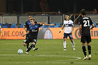 SAN JOSE, CA - OCTOBER 07: Jackson Yueill #14 of the San Jose Earthquakes during a game between Vancouver Whitecaps and San Jose Earthquakes at Earthquakes Stadium on October 07, 2020 in San Jose, California.