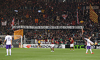 Calcio, Europa League: Ritorno degli ottavi di finale Roma vs Fiorentina. Roma, stadio Olimpico, 19 marzo 2015.<br /> Roma fans hold a banner reading 'Hands off Garcia. Kicks in the mouth to who doesn't want him' aimed to Roma's coach Rudi Garcia prior to the start of the Europa League round of 16 second leg football match between Roma and Fiorentina at Rome's Olympic stadium, 19 March 2015.<br /> UPDATE IMAGES PRESS/Riccardo De Luca