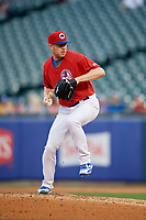 Buffalo Bisons relief pitcher Murphy Smith (19) delivers a pitch during a game against the Lehigh Valley IronPigs on June 23, 2018 at Coca-Cola Field in Buffalo, New York.  Lehigh Valley defeated Buffalo 4-1.  (Mike Janes/Four Seam Images)