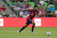 AUSTIN, TX - JULY 29: Miles Robinson #12 of the United States during a game between Qatar and USMNT at Q2 Stadium on July 29, 2021 in Austin, Texas.