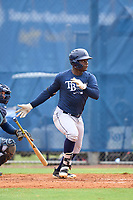 Tampa Bay Rays Dahiandy Johnson bats during an Extended Spring Training intrasquad game on June 15, 2021 at Charlotte Sports Park in Port Charlotte, Florida.  (Mike Janes/Four Seam Images)
