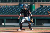 AZL Giants Orange first catcher Angel Guzman (16) waits to receive a throw before a play at home plate during an Arizona League game against the AZL Rangers at Scottsdale Stadium on August 4, 2018 in Scottsdale, Arizona. The AZL Giants Black defeated the AZL Rangers by a score of 3-2 in the first game of a doubleheader. (Zachary Lucy/Four Seam Images)