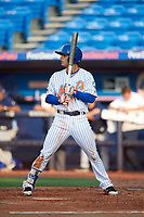 St. Lucie Mets shortstop Andres Gimenez (12) at bat during the first game of a doubleheader against the Charlotte Stone Crabs on April 24, 2018 at First Data Field in Port St. Lucie, Florida.  St. Lucie defeated Charlotte 5-3.  (Mike Janes/Four Seam Images)