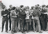 1979 FILE PHOTO - ARCHIVES -<br /> <br /> Shoving match: Peel policemen link arms to push pickets back at the strike-bound Butcher Engineering plant on Orenda Rd.; Brampton. Four pickets were arrested as they tried to prevent non-striking workers from entering the plant yesterday. The picket line was beefed up by United Auto Workers union members from outside.<br /> <br /> Bezant, Graham<br /> Picture, 1979, <br /> <br /> 1979,<br /> <br /> PHOTO : Graham Bezant - Toronto Star Archives - AQP