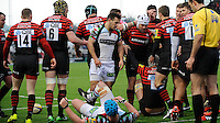 20130324 Copyright onEdition 2013©.Free for editorial use image, please credit: onEdition..Schalk Brits of Saracens (white scrum cap) scores a try during the Premiership Rugby match between Saracens and Harlequins at Allianz Park on Sunday 24th March 2013 (Photo by Rob Munro)..For press contacts contact: Sam Feasey at brandRapport on M: +44 (0)7717 757114 E: SFeasey@brand-rapport.com..If you require a higher resolution image or you have any other onEdition photographic enquiries, please contact onEdition on 0845 900 2 900 or email info@onEdition.com.This image is copyright onEdition 2013©..This image has been supplied by onEdition and must be credited onEdition. The author is asserting his full Moral rights in relation to the publication of this image. Rights for onward transmission of any image or file is not granted or implied. Changing or deleting Copyright information is illegal as specified in the Copyright, Design and Patents Act 1988. If you are in any way unsure of your right to publish this image please contact onEdition on 0845 900 2 900 or email info@onEdition.com