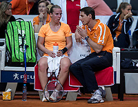 Bratislava, Slovenia, April 22, 2017,  FedCup: Slovakia-Netherlands, First rubber : The Dutch bench with Richel Hogenkamp and captain Paul Haarhuis<br /> Photo: Tennisimages/Henk Koster