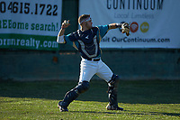 Mooresville Spinners catcher Christian Maggio (31) (Charleston Southern) warms up in the outfield prior to the game against the Dry Pond Blue Sox at Moor Park on July 2, 2020 in Mooresville, NC.  The Spinners defeated the Blue Sox 9-4. (Brian Westerholt/Four Seam Images)