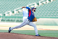 AZL Rangers starting pitcher Billy Layne Jr. (28) delivers a pitch during an Arizona League playoff game against the AZL Cubs 1 at Sloan Park on August 29, 2018 in Mesa, Arizona. The AZL Cubs 1 defeated the AZL Rangers 8-7. (Zachary Lucy/Four Seam Images)