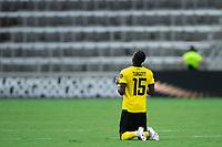 ORLANDO, FL - JULY 20: Blair Turgott #15 of Jamaica kneeling during a game between Costa Rica and Jamaica at Exploria Stadium on July 20, 2021 in Orlando, Florida.