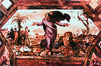 """Vatican:  Loggia of Raphael--a place on the 2nd floor of the Apostolic Palace in Vatican City.  Fresco of """"Creation of Animals"""".  1517-1519."""