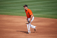 Frederick Keys first baseman Collin Woody (21) during the first game of a doubleheader against the Lynchburg Hillcats on June 13, 2018 at Nymeo Field at Harry Grove Stadium in Frederick, Maryland.  Frederick defeated Lynchburg 3-0.  (Mike Janes/Four Seam Images)