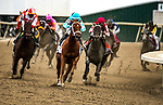 September 22, 2018 : Midnight Bisou, ridden by jockey Mike Smith [red cap], wins the Cotillion Stakes after a disqualification of Monomoy Girl on Pennsylvania Derby Day at Parx Casino and Racecourse on September 22, 2018 in Bensalem, Pennsylvania.[Dan Heary/Eclipse Sportswire/CSM]
