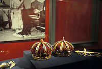 Royal crowns and sword on display at Iolani Palace,Honolulu, Oahu, built in 1892 by King Kalakaua