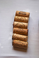 Domaine de Clovallon, Mas d'Alezon. Faugeres. Languedoc. Handful of corks on a table. France. Europe.