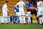 St Johnstone v Livingston…..07.03.20   McDiarmid Park  SPFL<br />Callum Hendry after a clash of heads with Ciaron Brown<br />Picture by Graeme Hart.<br />Copyright Perthshire Picture Agency<br />Tel: 01738 623350  Mobile: 07990 594431