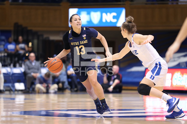 DURHAM, NC - JANUARY 16: Marta Sniezek #13 of Notre Dame University runs the offense during a game between Notre Dame and Duke at Cameron Indoor Stadium on January 16, 2020 in Durham, North Carolina.
