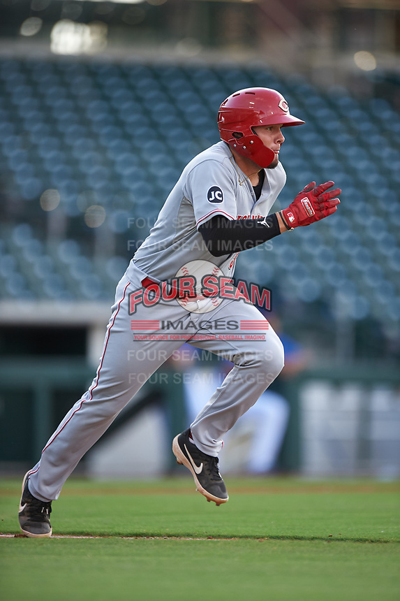 AZL Reds Wendell Marrero (31) runs to first base during an Arizona League game against the AZL Cubs 2 on July 23, 2019 at Sloan Park in Mesa, Arizona. AZL Cubs 2 defeated the AZL Reds 5-3. (Zachary Lucy/Four Seam Images)