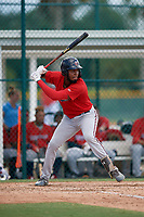 GCL Twins Francisco Martinez (13) at bat during a Gulf Coast League game against the GCL Pirates on August 6, 2019 at Pirate City in Bradenton, Florida.  GCL Twins defeated the GCL Pirates 1-0 in the second game of a doubleheader.  (Mike Janes/Four Seam Images)