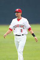 Ryan Metzler #8 of the Vancouver Canadians during a game against the Hillsboro Hops at Nat Bailey Stadium on July 24, 2014 in Vancouver, British Columbia. Hillsboro defeated Vancouver, 7-3. (Larry Goren/Four Seam Images)