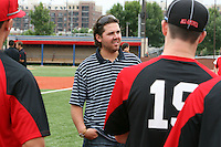 August 6, 2009:  Cleveland Indians pitcher Chris Perez talks with the pitching staff at the Under Armour All-America practice at Les Miller Field in Chicago, IL.  Photo By Mike Janes/Four Seam Images