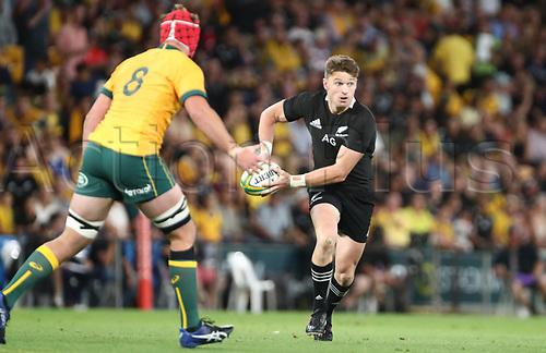 7th November 2020, Brisbane, Australia; Tri Nations International rugby union, Australia versus New Zealand;  Beauden Barrett  of The Allblacks in action