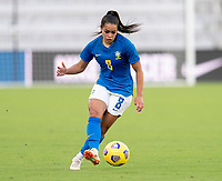 ORLANDO, FL - FEBRUARY 24: Ivana #8 of Brazil dribbles during a game between Brazil and Canada at Exploria Stadium on February 24, 2021 in Orlando, Florida.