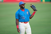Clearwater Threshers first baseman D.J. Stewart (12) during warmups before a game against the Lakeland Flying Tigers on May 5, 2021 at BayCare Ballpark in Clearwater, Florida.  (Mike Janes/Four Seam Images)