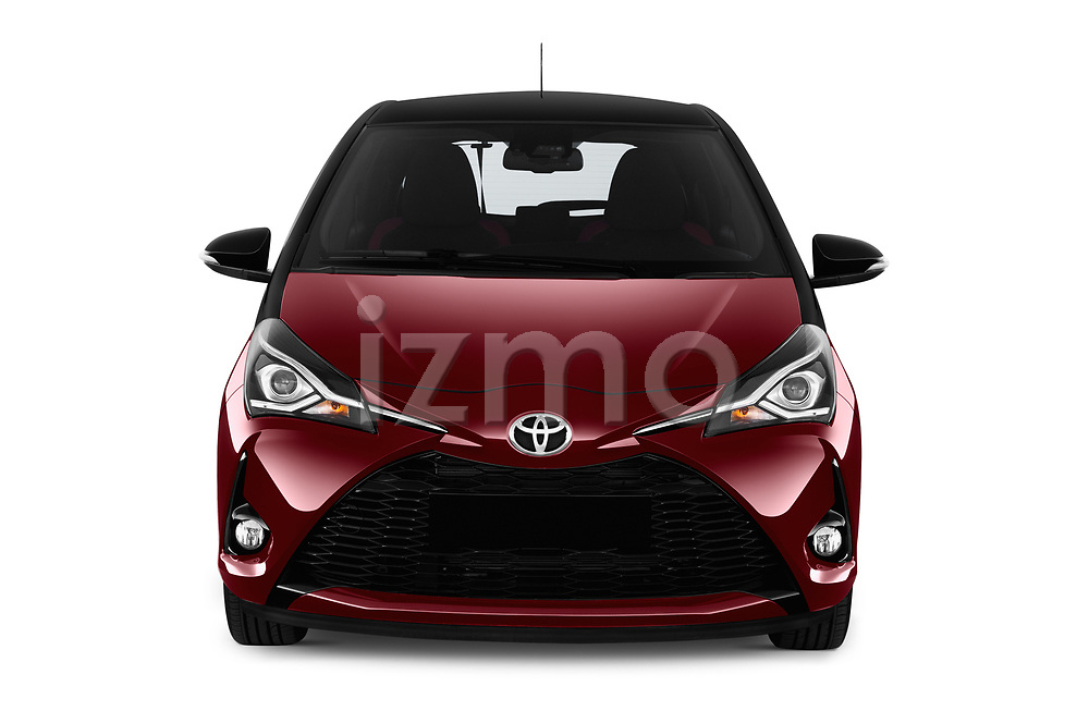 Car photography straight front view of a 2018 Toyota Yaris Two tone 5 Door Hatchback